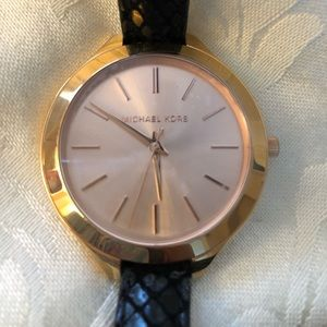 Authentic Michael Kors rose gold/black watch